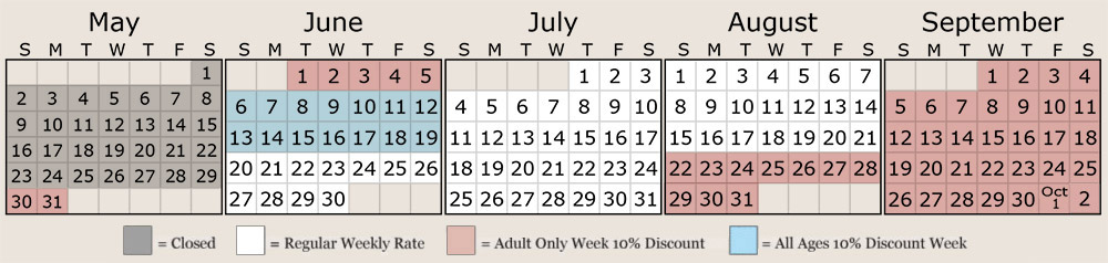 2021 rates calendar